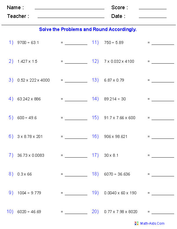Rounding Worksheets with Decimals This worksheet was built to – Multiplying and Dividing Decimal Worksheets