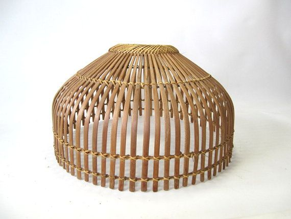Perfect Mid Century Rattan Lamp Shade Large Size One Ed Piece As Shown On The Picture Lampshade 13 Height X 17 75 Diameter