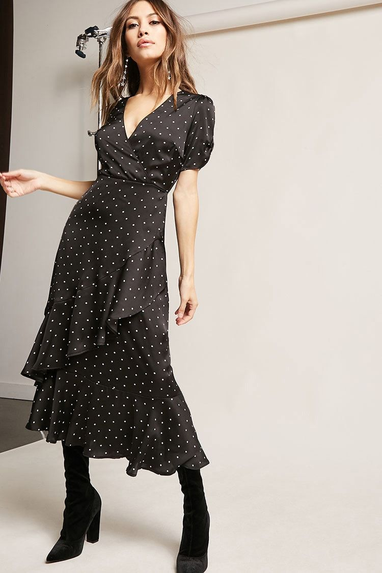 Polka dot ruffle dress clothes styles pinterest ruffle dress