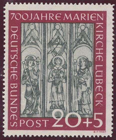 """Germany, Bundesrepublik 1951, Marienkirche, 20 Pfg. mit Plattenfehler """"Sprung im Fresco"""", postfrisch Pracht (postfr., Mi.-Nr.140I, Mi.EUR 650,--). Price Estimate (8/2016): 130 EUR."""