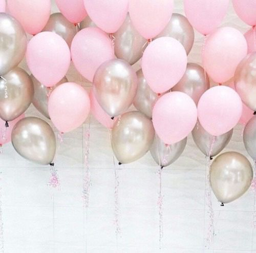 Pink Balloons And Silver Image