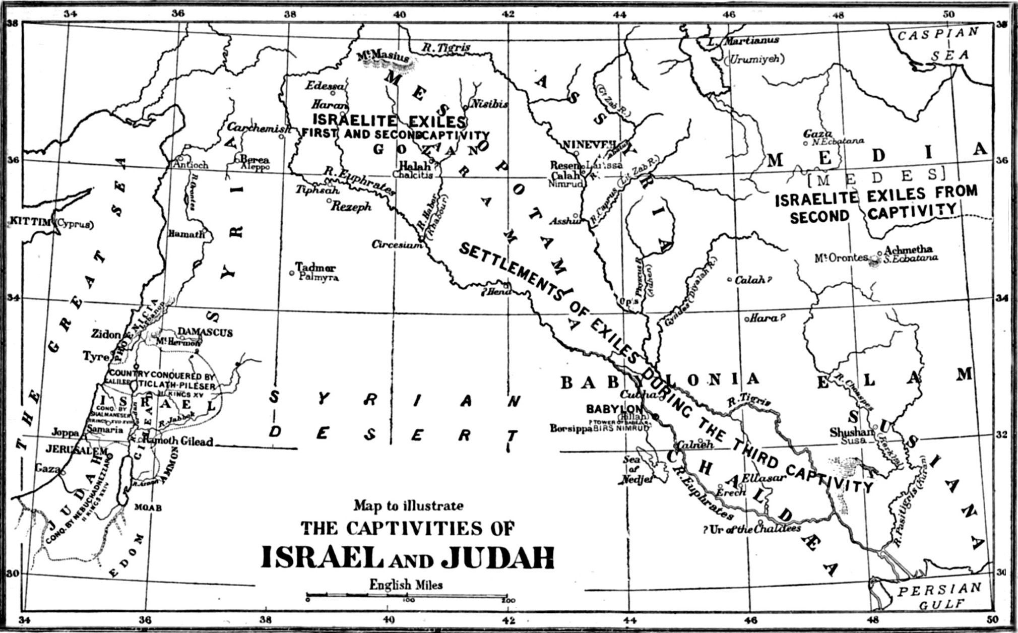 Map Of Where Israel And Judah Were Takencaptive