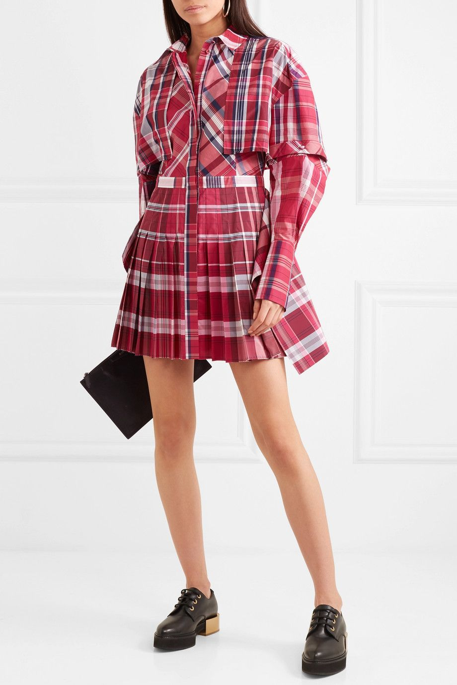 Checked Silk And Cotton-blend Poplin Mini Dress - Red Alexander McQueen XJw58L