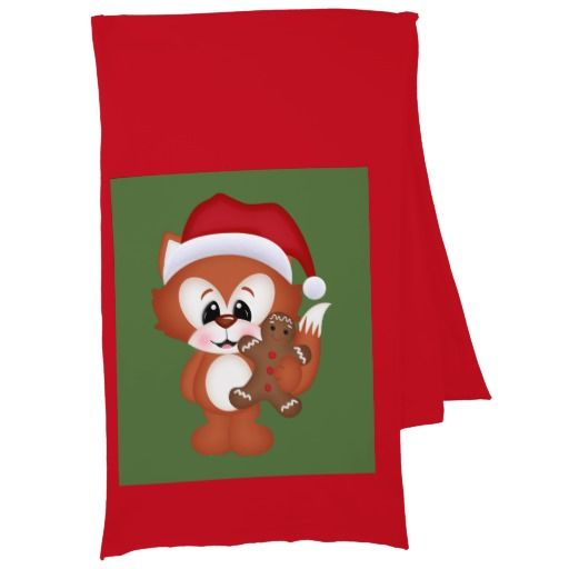 Christmas Holiday fox cartoon scarf