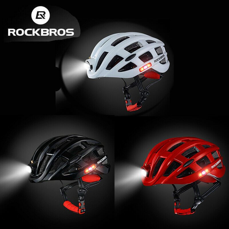 RockBros Road Bike Cycling Ultralight Helmet USB Recharge Light Size 57-62cm