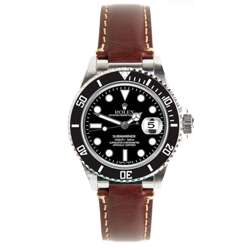 Rolex Vintage Brown Leather Strap For Submariner Ceramic By Everest Leather Watch Bands Rolex Rolex Watches