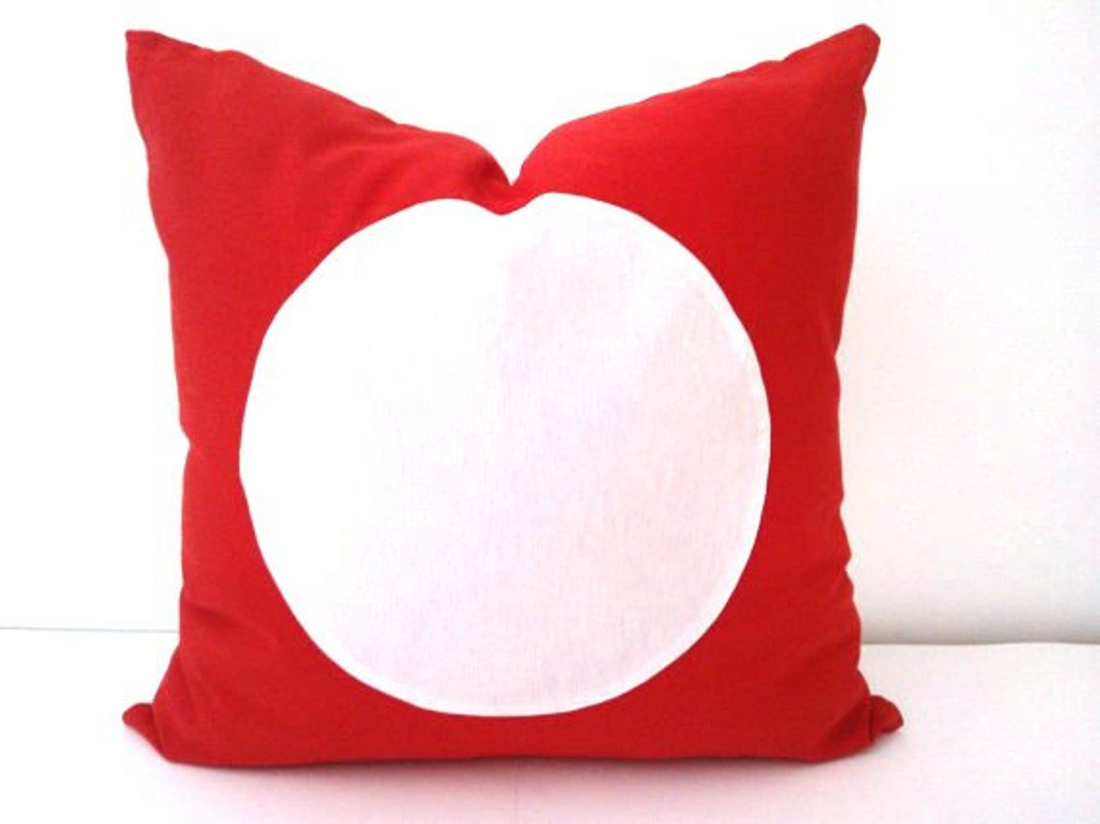 Red Throw Pillow Cover With White Circle Geometric Circle Cushion Housse De Coussin Coussin Rouge Coussin