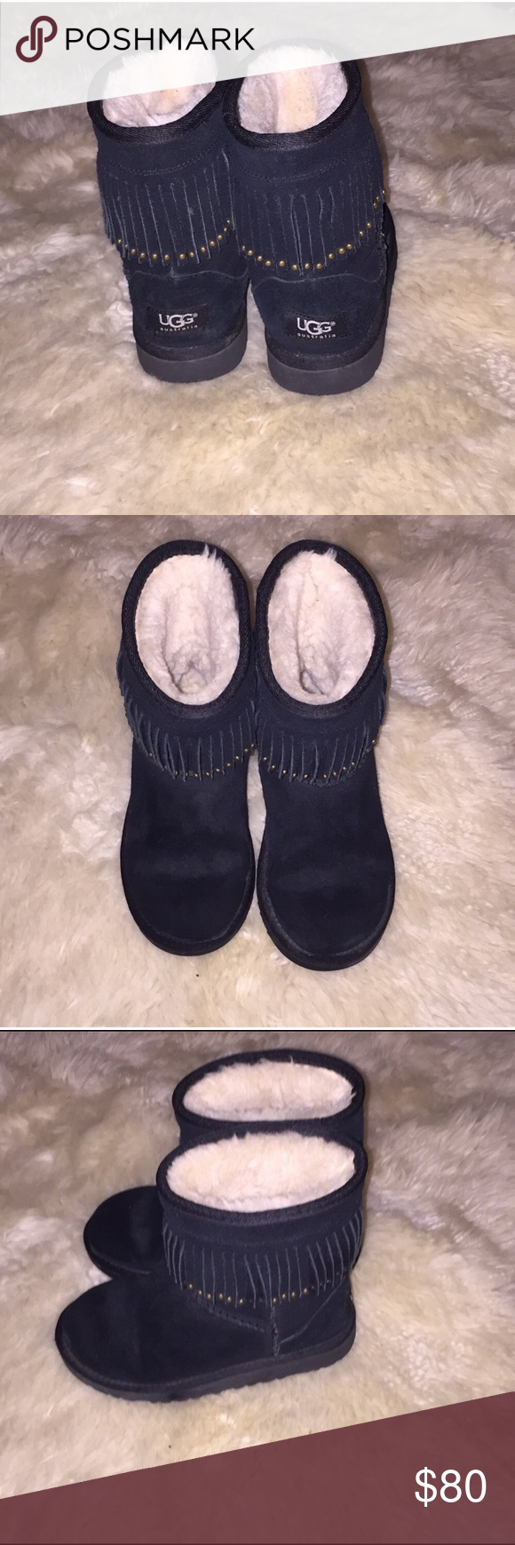 Black Fringe Studded Ugg Boots Excellent Condition, Worn a few times Black Fringe Studded Ugg Boots Big Girls Size 4/Women's Size 6 UGG Shoes #uggbootsoutfitblackgirl