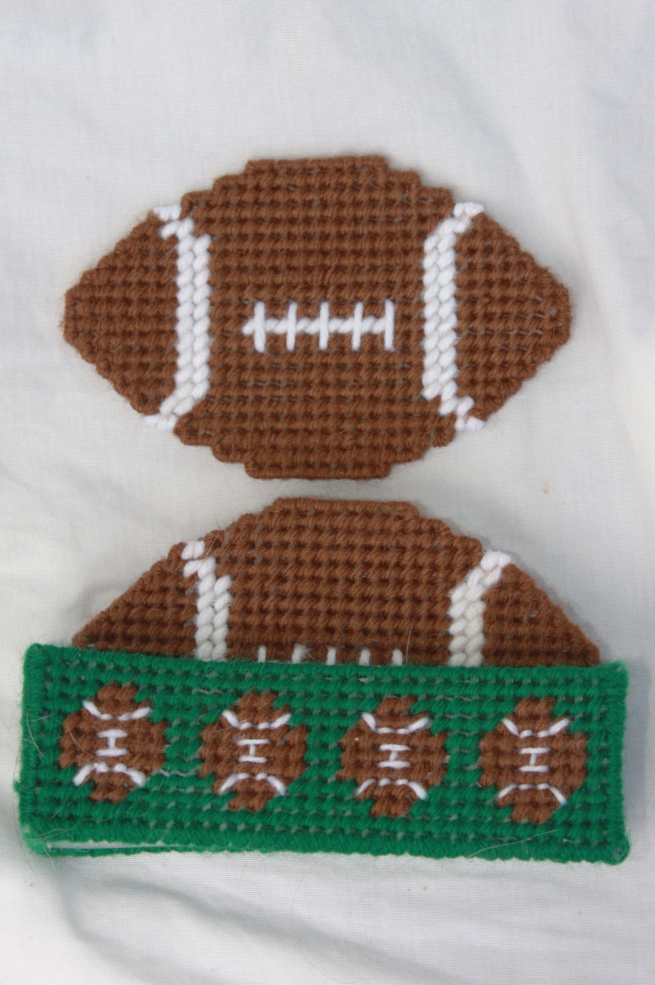 Plastic Canvas-Football Coaster Set....maybe for the men in my ...