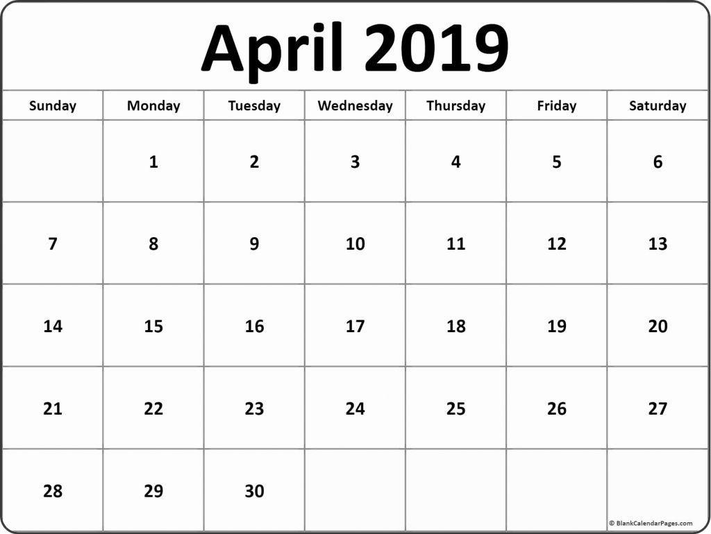 April 2019 Calendar Template Editable June calendar