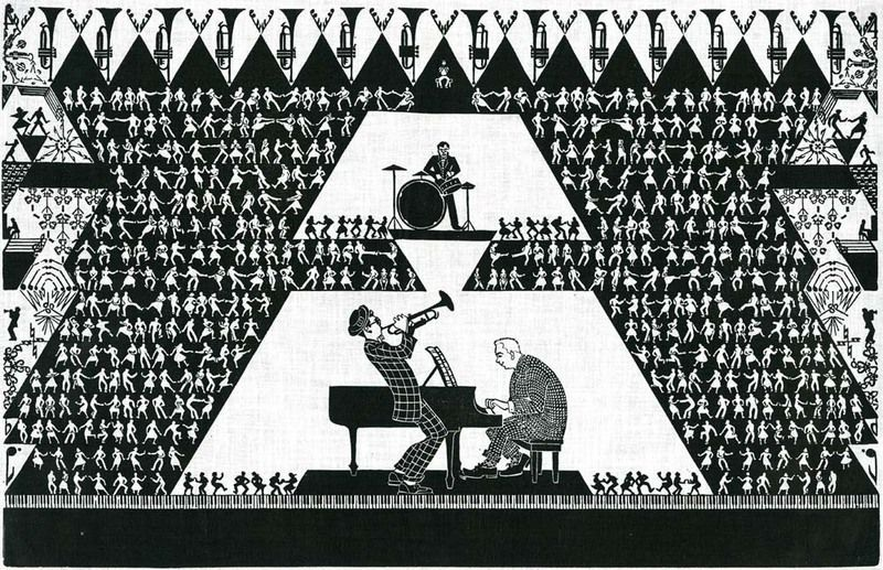 """Aino Clarke's """"Jazz,"""" from 1948, combines expressive characters with geometric precision."""