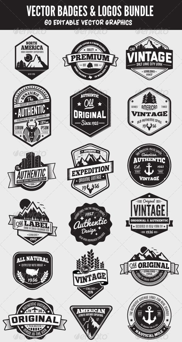 retro styled badges, signs and logos  The graphics are 100% vector and are completely editable  Only free fonts were used  The download contains a list of links  is part of Retro logo design -