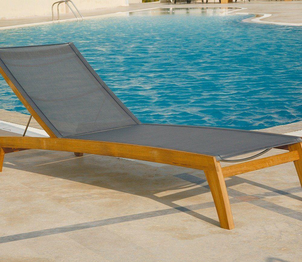 Barlow Tyrie Horizon Sun Lounger Teak chaise lounge