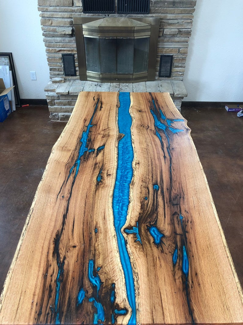 Diy Farmhouse Dining Table With Epoxy Inlays Using Reclaimed Barnwood
