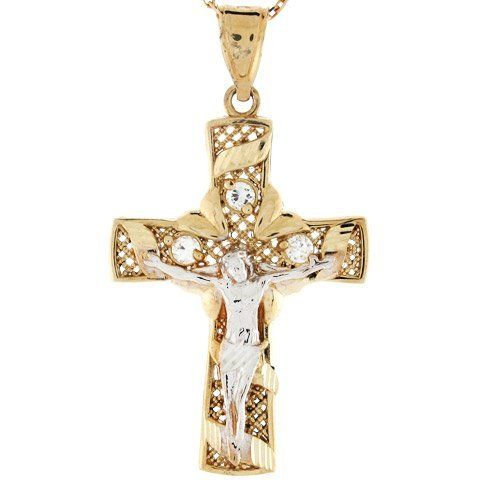 18-Inch Rhodium Plated Necklace with 4mm Light Amethyst Birthstone Beads and Sterling Silver Crucifix Charm.