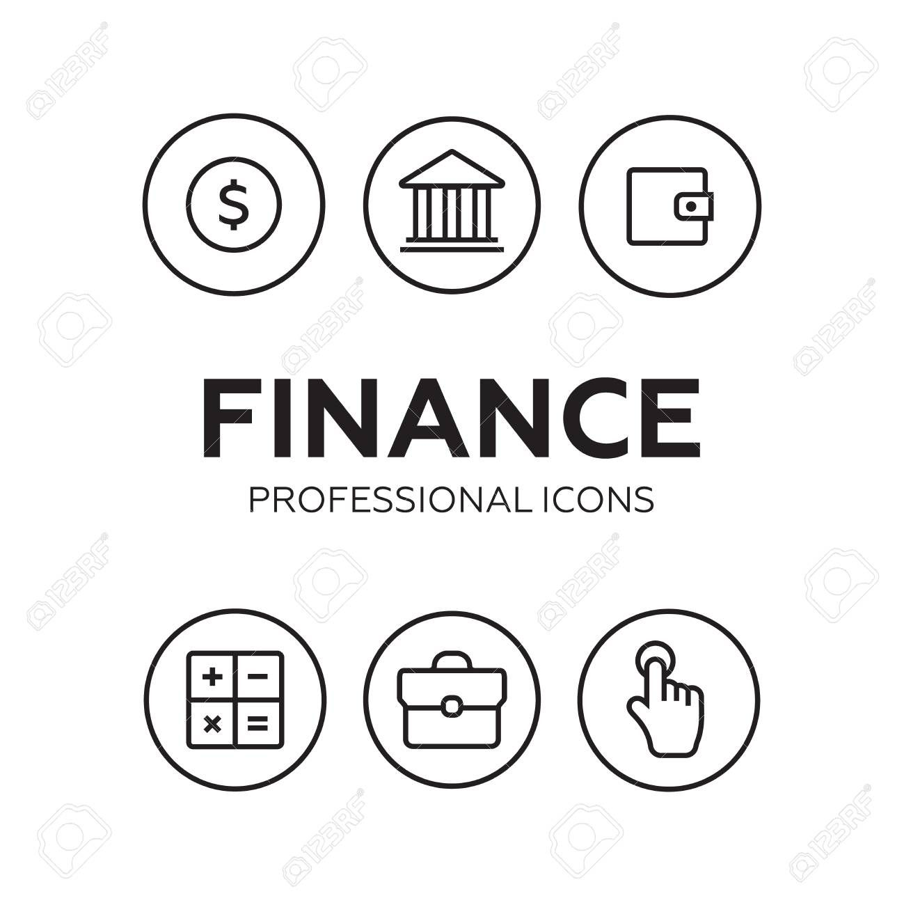 Finance Thin Icons Finance Icons Line Style Vector Sponsored