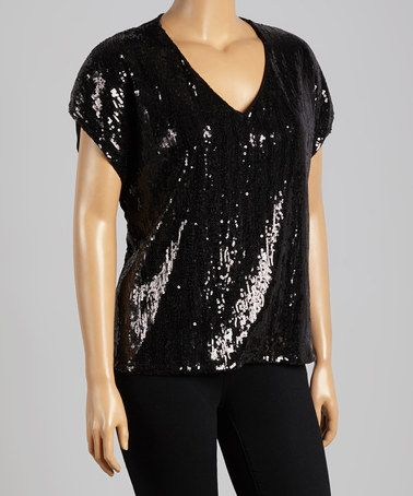 Another great find on #zulily! Black Sequin V-Neck Top - Plus by Bellino #zulilyfinds