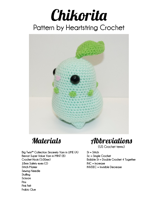 The pattern for Chikorita is NOW available! and for THIS WEEK ONLY ...