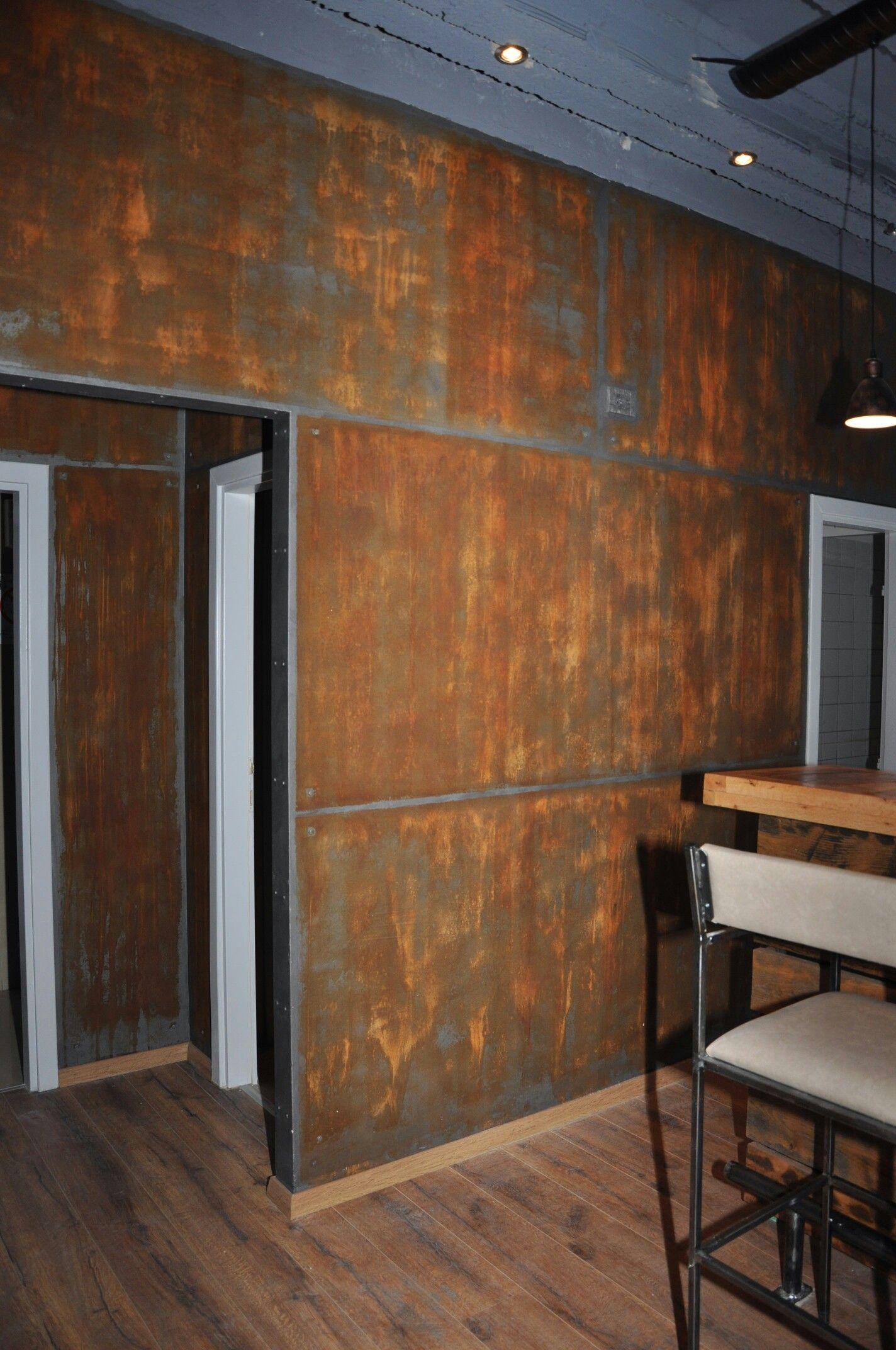 Rusted Corrugated Metal Backsplash