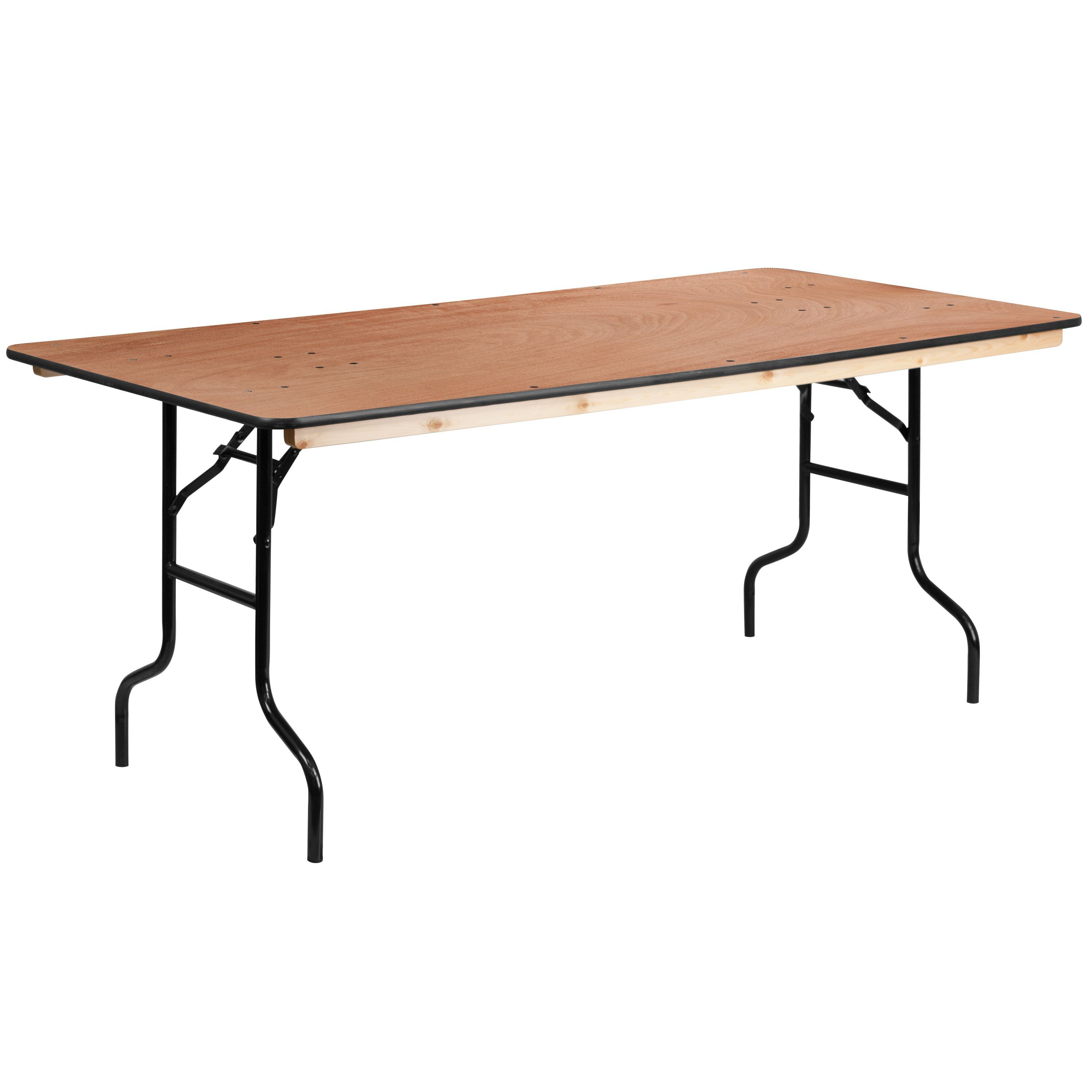 Rectangular Wood Folding Banquet Table With Clear Coated Finished Top 36 Inch X 72 Inch Wood Folding Table Furniture Banquet Tables