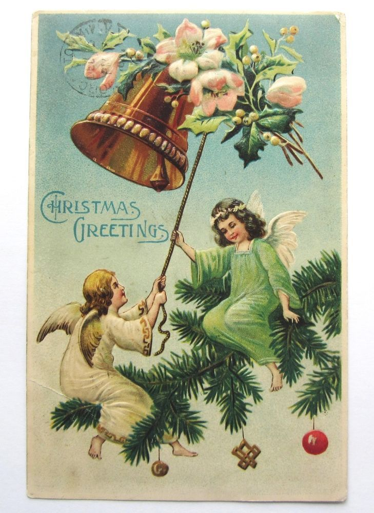 ANGELS on Evergreen Tree Ring CHRISTMAS Bell Embossed