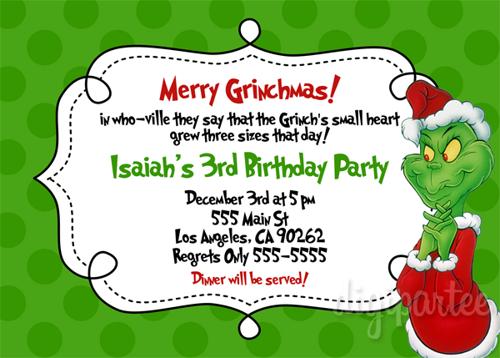 Grinch Birthday Party Invitation Grinch Party Grinch