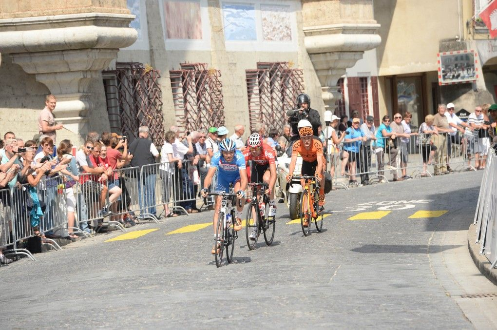 break, Tour de Suisse, 2014, stage five, For the cameras | The three-man break was left hanging in front for much of the day, but Omega Pharma-Quickstep ensured their attack would amount to no more than some added publicity for the sponsors (pic: Sirotti)