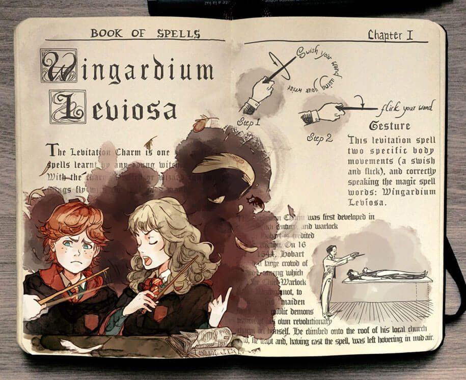 Artist Illustrates Magic Spells From Harry Potter Harry Potter Illustrations Harry Potter Drawings Harry Potter Art