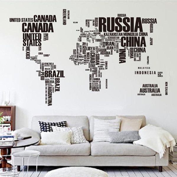 Diy large world map wall decal english alphabet removable wall diy large world map wall decal english alphabet removable wall stickers decal gumiabroncs Images