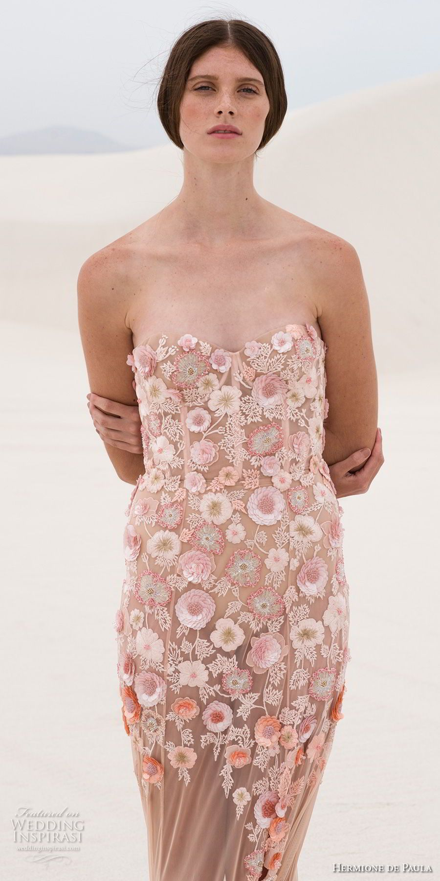Hermione De Paula Frühling 2019 Braut Trägerlosen Schatz Ausschnitt Stark  Verzierten Mieder Romantischen Nude Farbe Mantel