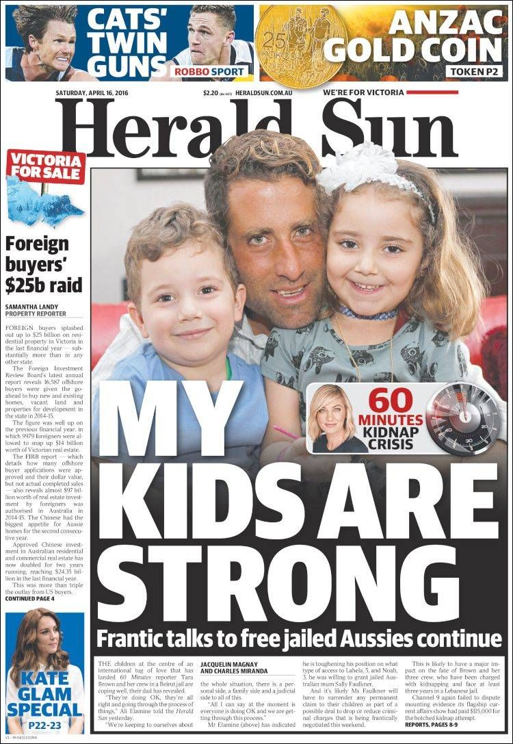 #20160416 #AUSTRALIA #AustraliaTodayNEWSpapers20160416 Saturday APR 16 2016 http://en.kiosko.net/au/2016-04-16/ + #MELBOURNE #HeraldSun20160416 http://en.kiosko.net/au/2016-04-16/np/herald_sun.html