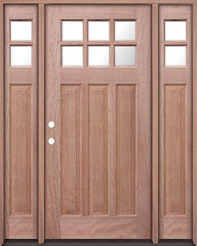 6 Lite Craftsman Mahogany Prehung Wood Door Unit With Sidelites