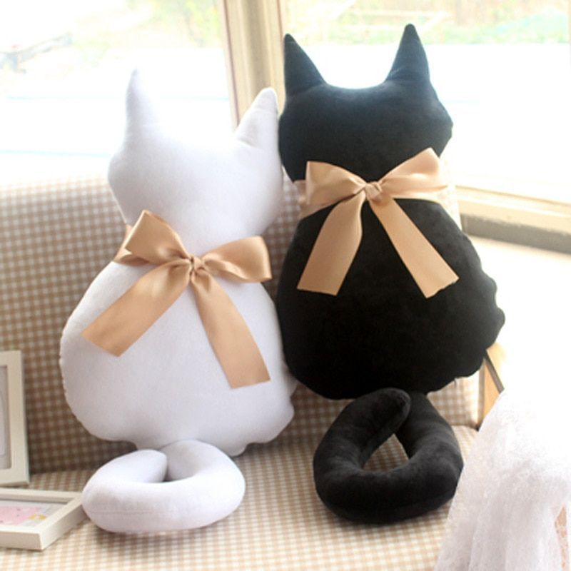 Plush Animals Kawaii Plush 1 PCS Cute Black Cat Pillow and Cushion for Office Ch... :  Plush Animal