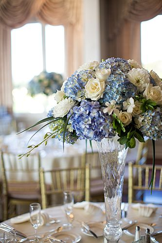 Blue Hydrangea And White Rose Centerpiece Like The Blue