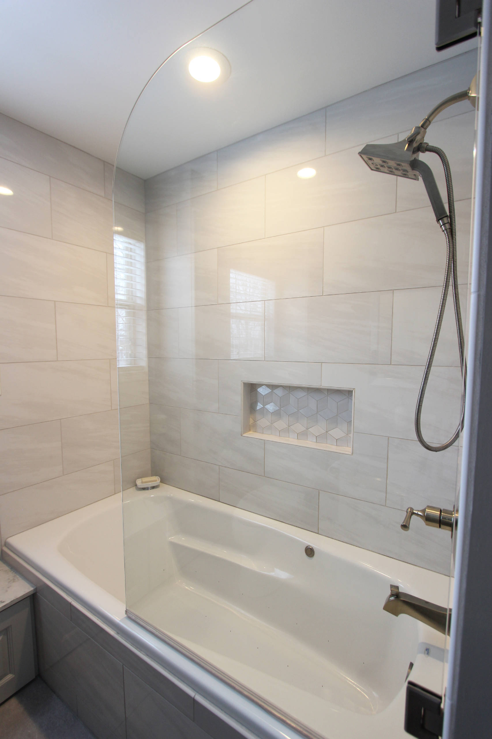 Photo of Grey Tiled Bathroom and Shower ~ Streetsboro, OH – Transitional – Bathroom – Cle…