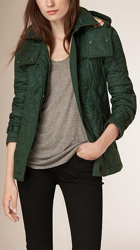 Dark racing green Diamond Quilted Jacket - Image 2   Clothes ... : diamond quilt jacket - Adamdwight.com