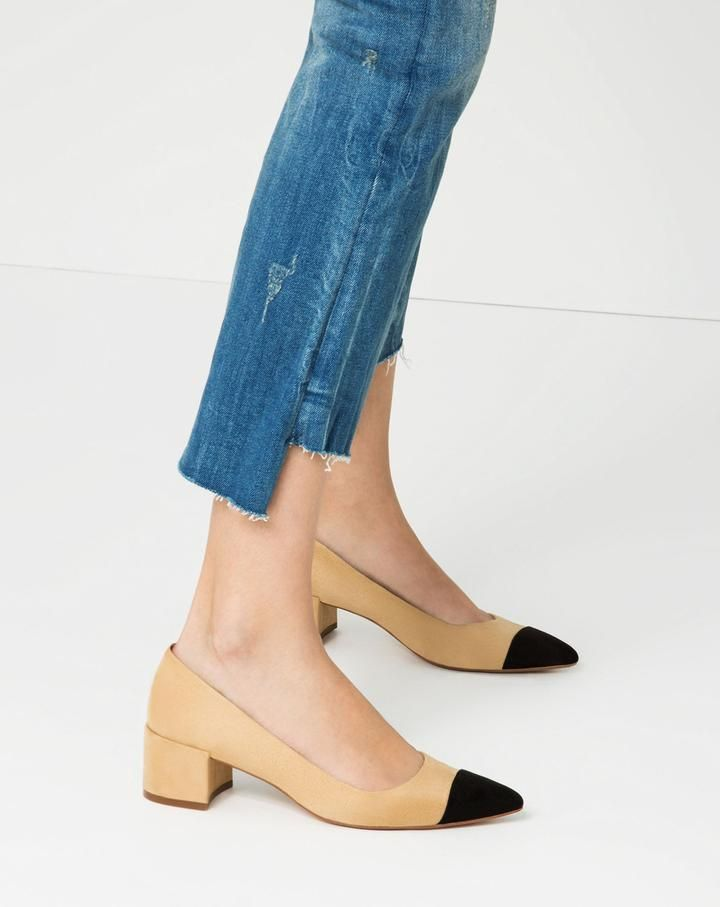 Zara MID-HEEL SHOES WITH CONTRASTING TOE CAP