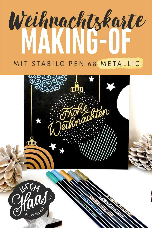 Persönliche Weihnachtskarten Foto.Diy Weihnachtskarte Mit Stabilo Pen 68 Metallic Stiften Christmas