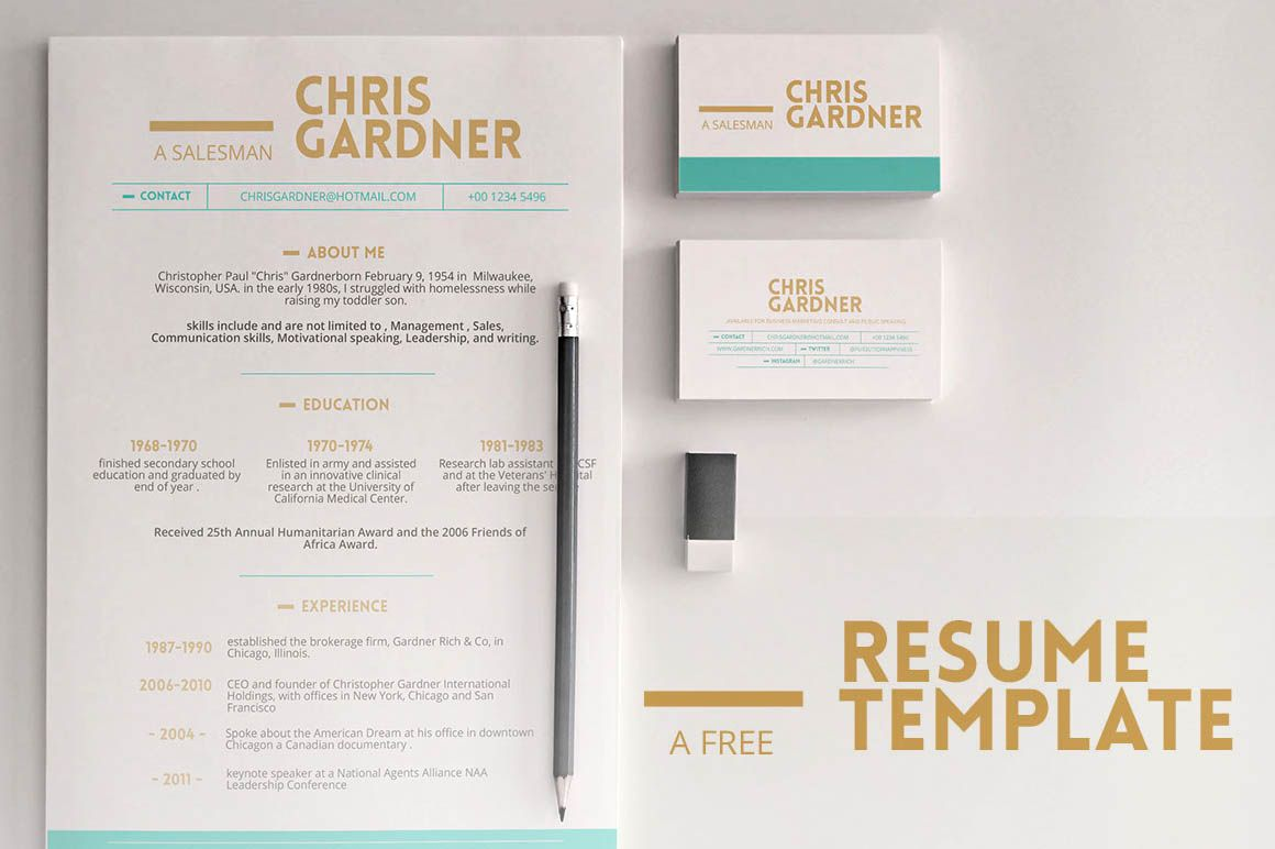 Free Minimalistic Style #Photoshop & #Powerpoint #Resume Template