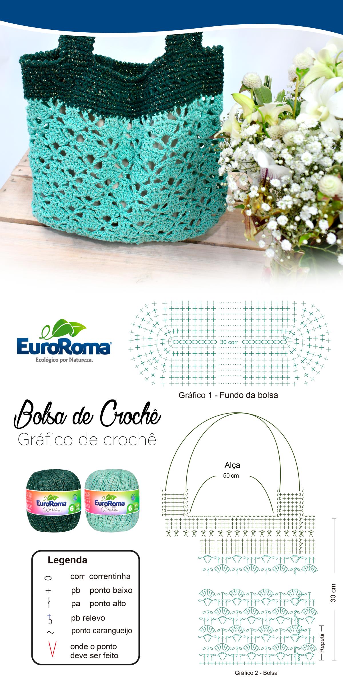 Linda bolsa de crochê utilizando o EuroRoma Brilho na cor 810 ...
