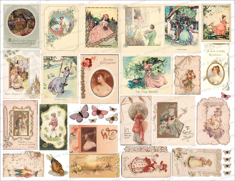 MEGA BUNDLE 254 Gilded Shrooms Collage Sheet Digital Junk Journal Scrapbook Instant Download 12X12