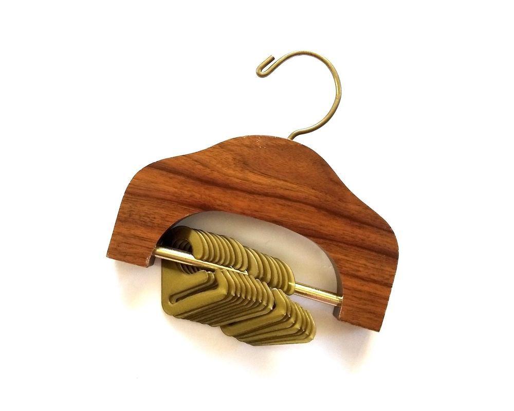 ec9feb88c38 Vintage Mid Century Wood Tie Holder Organizer Closet Hanger 16 Clips  Necktie  Unbranded