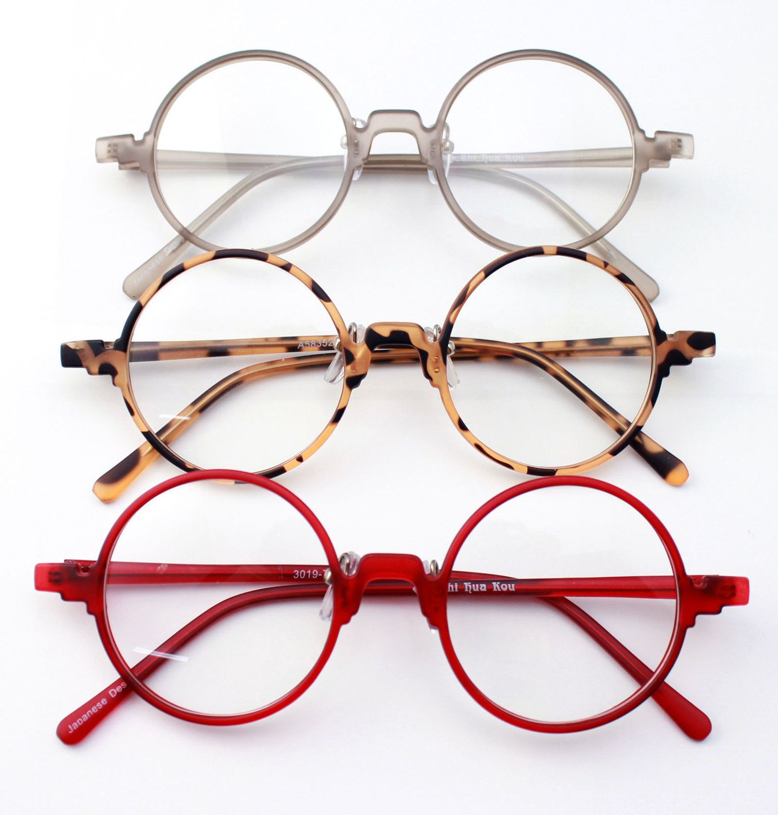 Vintage Retro Flexible Round Amber Grey Red Eyeglass Frame ...