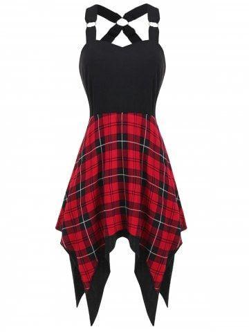 #asymmetrical #tartan #insert #print #dressAsymmetrical Tartan Print Insert Dress