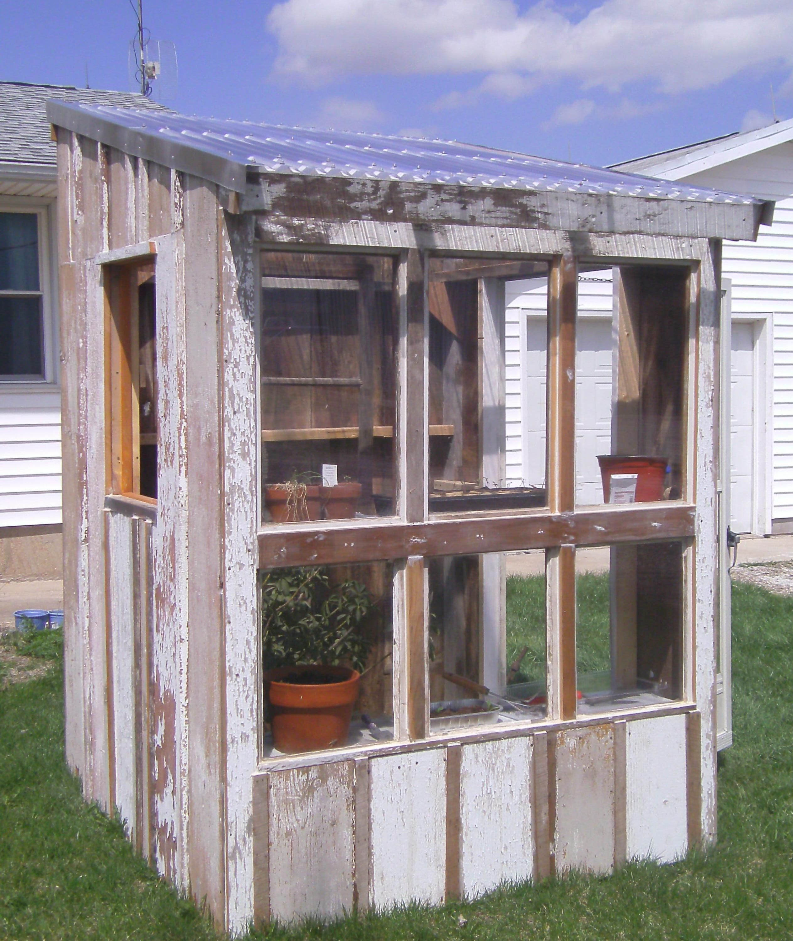 Homemade Greenhouse Made Using Mostly Recycled Building Materials