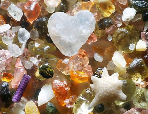 magnified grains of beach sand