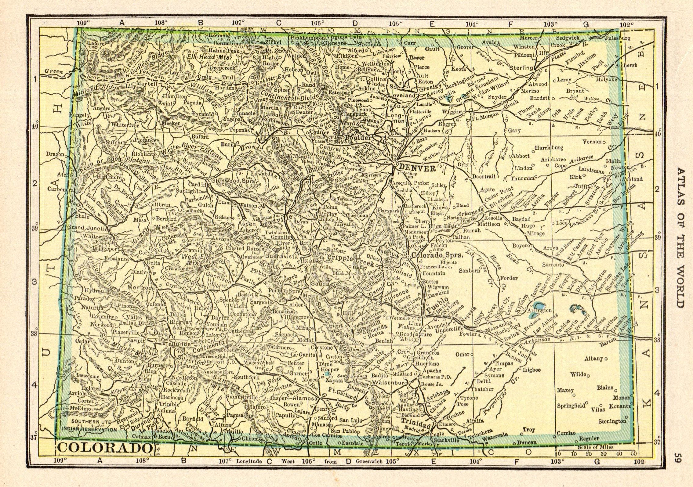 1909 Antique Colorado State Map Vintage Map Of Colorado Gallery Wall Art Decor Anniversary Gift For Birthday Wedding Haw 10122 Map Wall Art Decor Art Decor