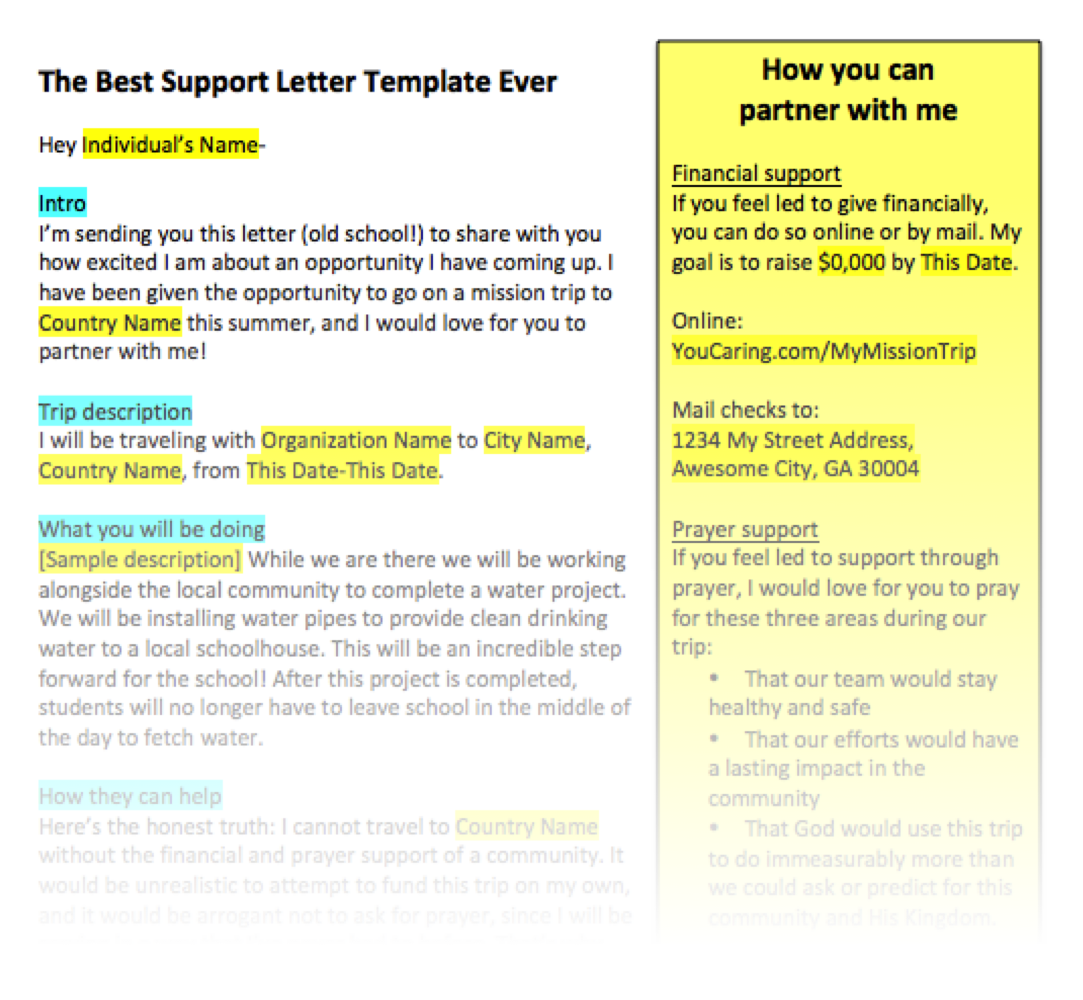 the best support letter template ever seriously fundraising