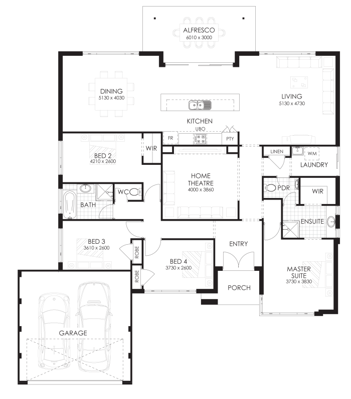 Floor Plan Friday: 4 bedroom home with rear views | Rear view ...