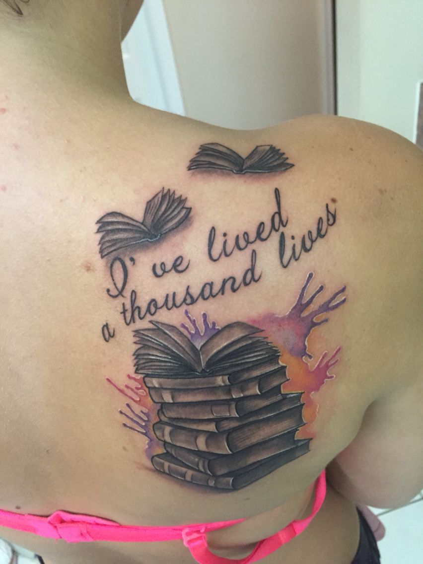 book tattoo number 4 i 39 ve lived a thousand lives stack of books black and grey water color. Black Bedroom Furniture Sets. Home Design Ideas